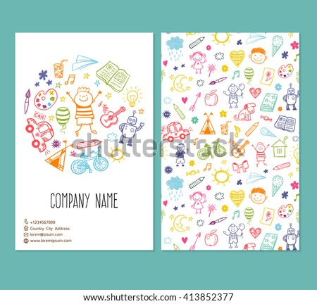flyer brochure vector template with doodle children drawing