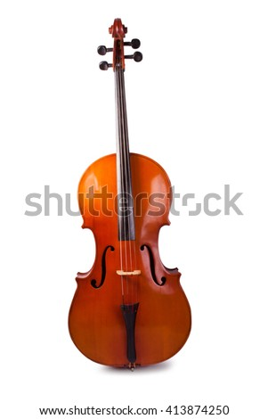 Cello on a white background. Stringed instrument Royalty-Free Stock Photo #413874250