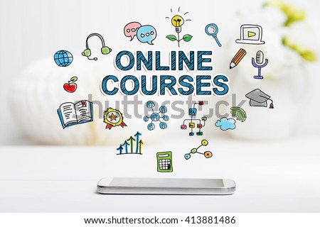 Online Courses concept with smartphone on white table