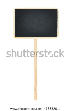 Blank wooden blackboard label , chalkboard label , garden sign and tag price isolated on a white background.