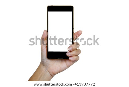 Hand holding smart phone on white background #413907772