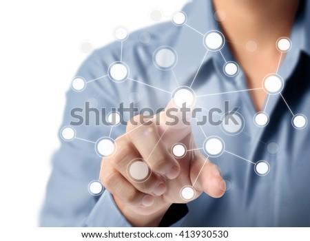 hand pressing modern social buttons #413930530