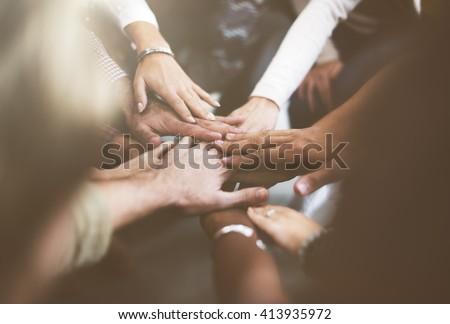Teamwork Join Hands Support Together Concept #413935972