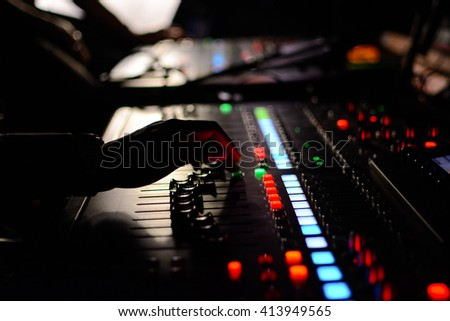 Sound engineer mixing in the studio