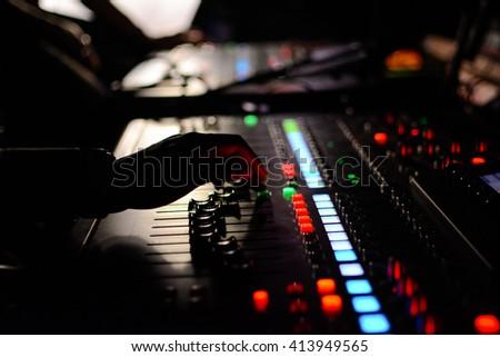 Sound engineer mixing in the studio
