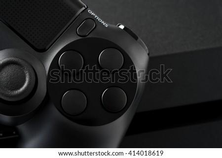 Joystick on white background, isolated close-up