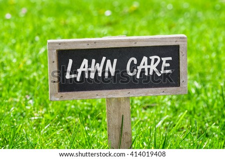 Sign on a green lawn - Lawn care #414019408