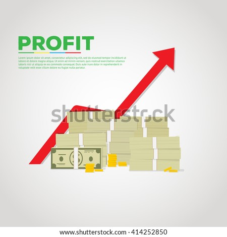 Flat illustration of pile of green dollars and gold coins. Red graph arrow rising on backgroung. #414252850