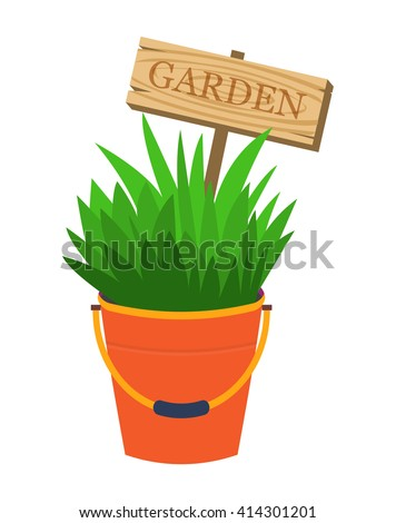 Garden flower decoration bed. Bucket with plants and garden decoration sign. Original flower pot. Vector illustration