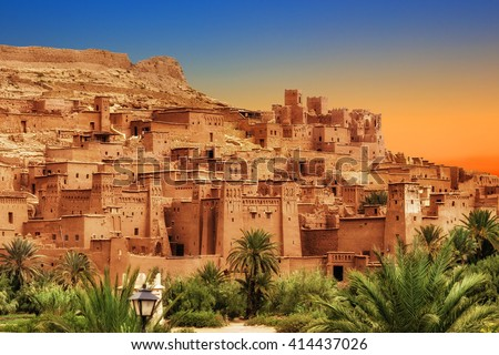 Kasbah Ait Ben Haddou in the Atlas Mountains of Morocco. UNESCO World Heritage Site since 1987. Several films have been shot there Royalty-Free Stock Photo #414437026