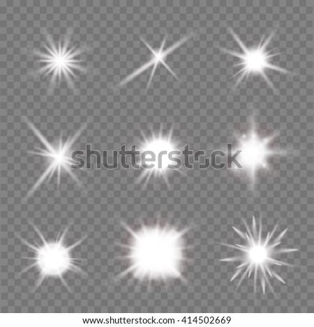 set of light flashes over transparent background. vector illustration