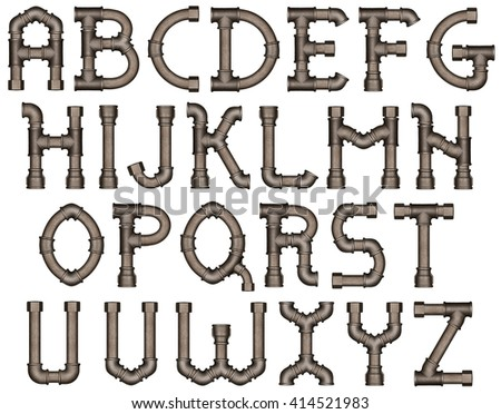 Industrial metal pipe alphabet letters