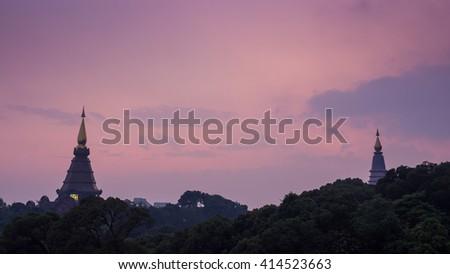 Sunset landscape of two pagodas at Doi Inthanon, Chiangmai, Thailand #414523663
