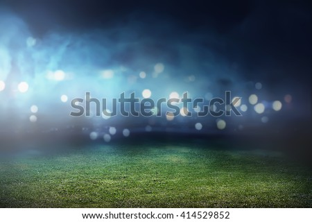 Image of empty football stadium background. You can put your design Royalty-Free Stock Photo #414529852