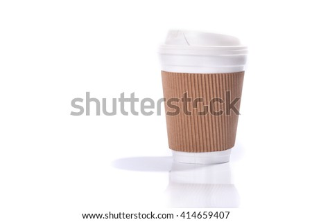 Paper coffee cup with sleeve, isolated on white background #414659407