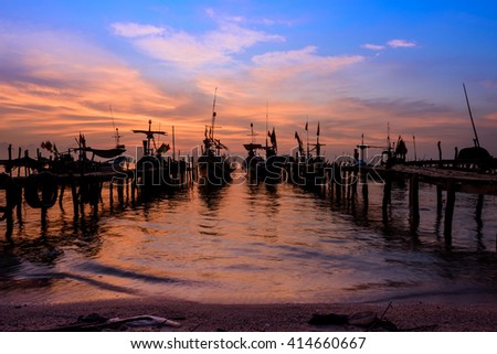 "NAKHON SI THAMMARAT, THAILAND - MAY 1, 2016: Morning landscape at ""Nai Tung Village"" atmosphere of a seaside village, the local professional fishing, Nakhon Si Thammarat, Thailand. #414660667"