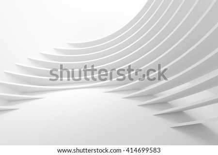 White Architecture Circular Background. Abstract Interior Design. 3d Modern Architecture Render. Futuristic Building Construction. Geometric Structure