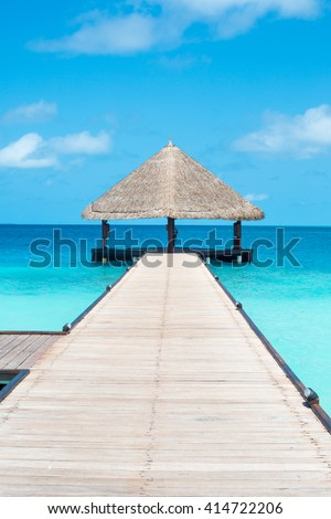 Maldives. Expensive luxury vacation. Ocean view. Water bungalows view. #414722206