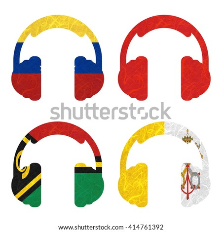 Nation Flag. Headphone recycled paper on white background. ( Vanuatu , Vatican City State , Venezuela , Vietnam ) #414761392