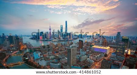 Aerial photography bird view at Shanghai bund Skyline of dusk  #414861052