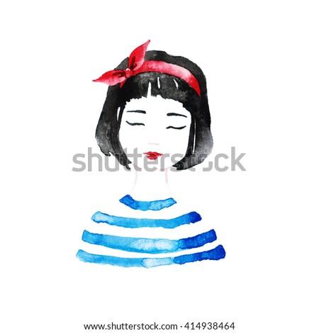 cute girl illustration romantic T shirt print princess sticker pretty little pattern beautiful paris