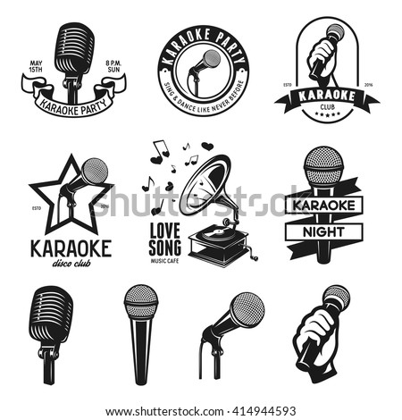 Set of karaoke related vintage labels, badges and design elements. Microphones isolated on white background. Vector vintage illustration.