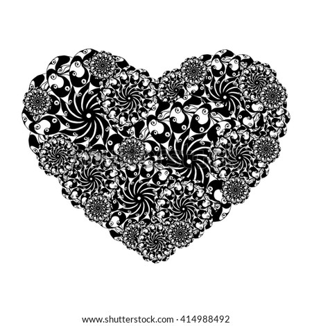 Picture of the heart of stylized flowers in black and white colors. Isolated on white background. Vector illustration. #414988492