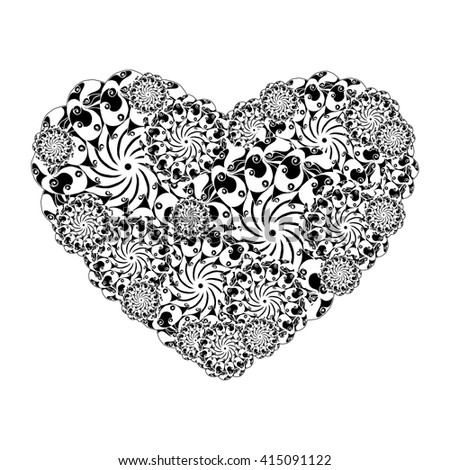 Picture of the heart of stylized flowers in black and white colors. Isolated on white background. Vector illustration. #415091122