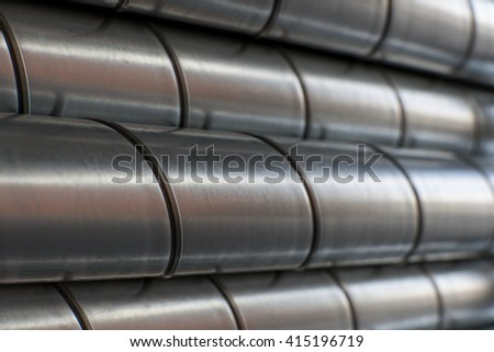Ventilation metal pipes. Galvanized iron pipes. #415196719
