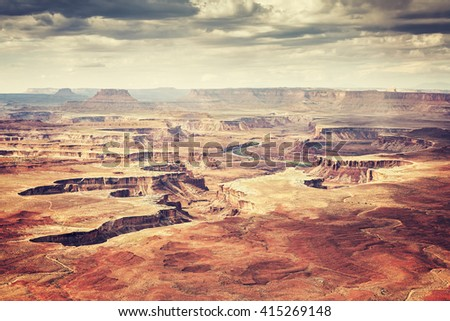 Old film stylized deserted landscape in Canyonlands National Park, Island in the Sky region, Utah, USA. #415269148