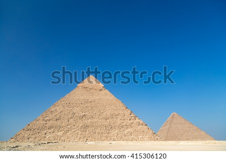 Pyramids of Giza complex ( Egypt) against the clear blue sky. #415306120