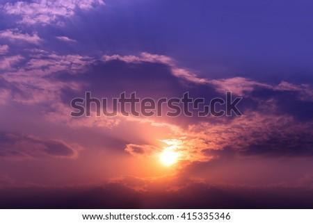 dramatic sunset, over light #415335346