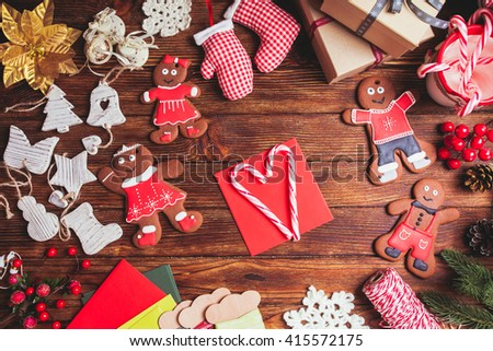 Red envelope on the table, waiting for Christmas greeting card #415572175