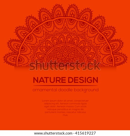Vector nature decor for your design with abstract ornament. Vector round mandala in childish style. Ornamental doodle background. #415619227