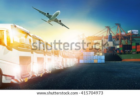 truck and cargo plane with shipping port background #415704973