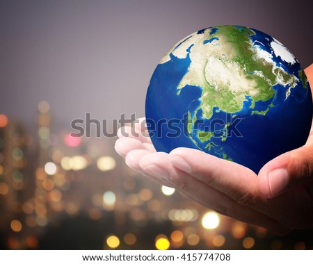 The world is on hold for the city bokeh blur background. Elements of this image furnished by NASA. #415774708