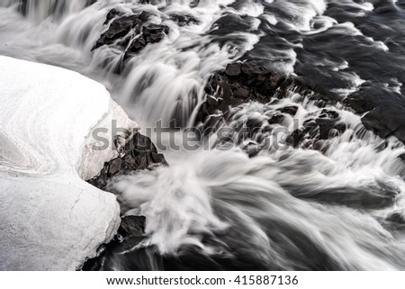 Sellfoss and Dettifoss waterfalls - Views around Iceland, Northern Europe in winter with snow and ice #415887136