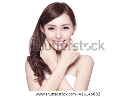 Beauty woman with charming smile to you with health skin, teeth and hair isolated on white background, asian beauty #416146882