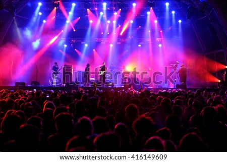 BARCELONA - MAY 27: Albert Hammond Jr. (rock musician) performs at Primavera Sound 2015 Festival, ATP stage, on May 27, 2015 in Barcelona, Spain. #416149609