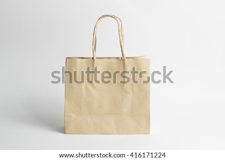 brown paper bag isolated on white background #416171224