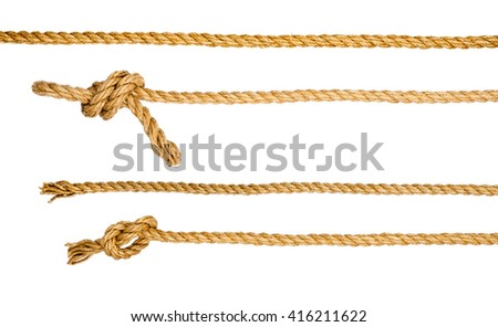 Ship ropes with knot isolated on white background, closeup Royalty-Free Stock Photo #416211622