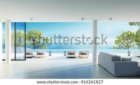 Beach living on Sea view / 3d rendering #416261827
