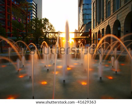 Fountain in downtown of city