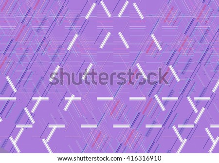 Colorful mosaic illustration created with lines, triangles and squares. Decorative festive composition. #416316910