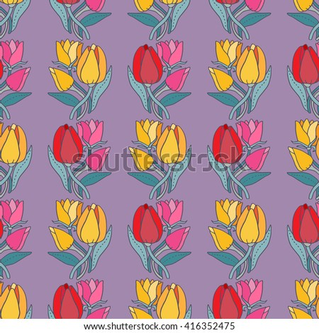 Beautiful tulip flower bouquet seamless pattern, lovely vector illustration. Good for textile fabric design, wrapping paper and website wallpapers.  #416352475