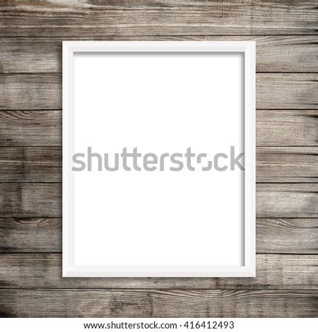 Vertical White Frame on Wood Background