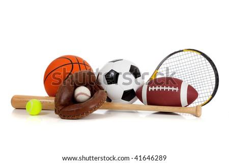 Assorted sports equipment including a basketball, soccer ball, tennis ball, baseball, bat, tennis racket, football and baseball glove on a white background Royalty-Free Stock Photo #41646289