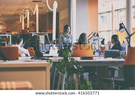 startup business people group working everyday job at modern office #416503771