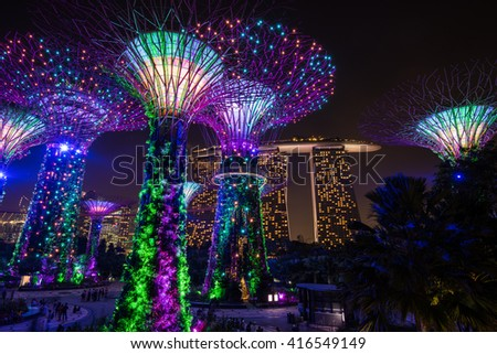 SINGAPORE - APRIL 19, 2016: Gardens by the Bay is a park or botanic garden in Singapore. #416549149