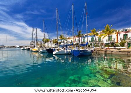 Marina of Puerto de Mogan, a small fishing port on Gran Canaria, Spain. #416694394